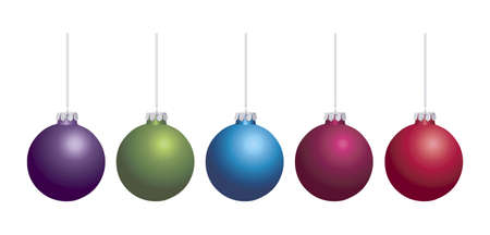 A vector image of a row of colorful Christmas baubles isolated on a white background