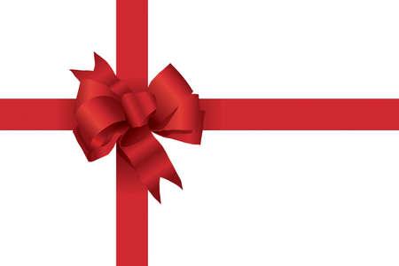Een vector illustratie van een rode kerst boog met linten zoals op een cadeau Stock Illustratie