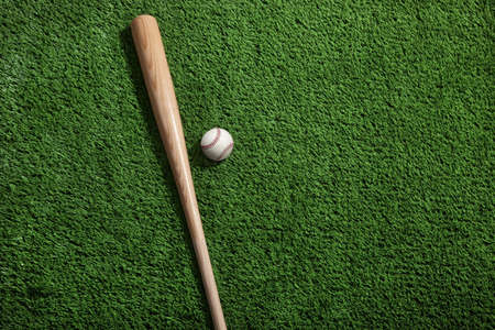 A baseball and bat on green turf viewed from above