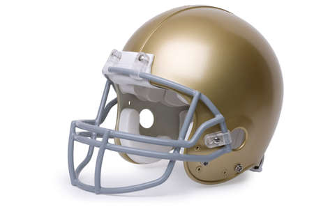 face guard: Gold football helmet in 3 4 view isolated on a white background Stock Photo