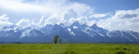 Panorama of the Grand Teton mountain range above grassy fields in Wyoming, USA Stock Photo