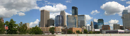 midwest usa: Panorama of downtown Minneapolis viewed from the northwest Stock Photo