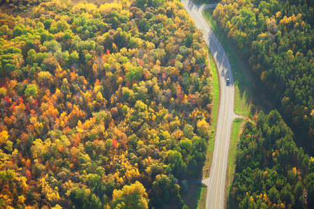 minnesota woods: Aerial view of a road curving through woods in fall color in Minnesota Stock Photo