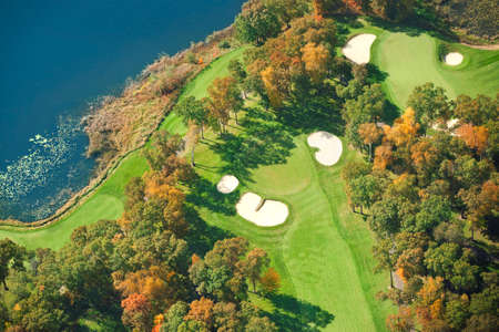 Aerial view of golf course in Minnesota during autumn 免版税图像