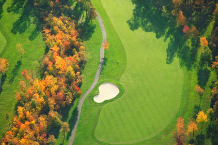 Aerial view of Minnesota golf course during autumn