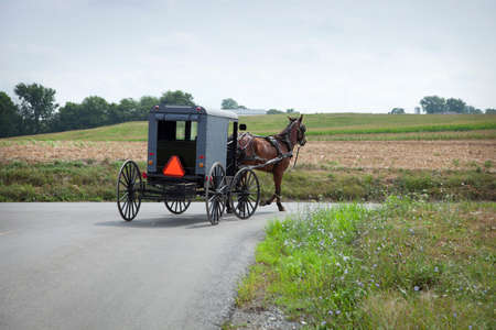 An Old Order Amish buggy turns a corner in Lancaster County Pennsylvania Фото со стока