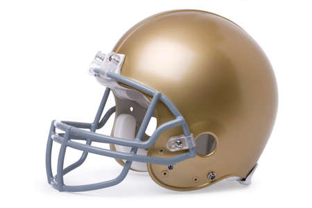 Gold football helmet, side view, isolated on a white  版權商用圖片