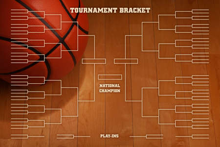 Basketball tournament bracket over image of ball with spot lighting on wood gym floor Фото со стока