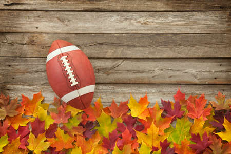 College style football on fall leaves and rough wood top view