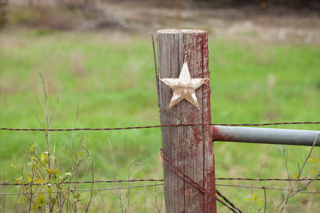 fence post: A selective focus view of a grungy white star on a wooden fence post in Texas