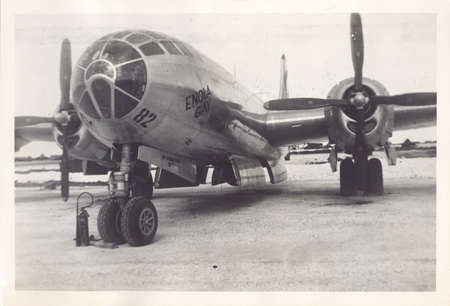 TINIAN ISLAND, COMMONWEALTH OF THE NORTHERN MARIANA ISLANDS - Between SEPTEMBER 2 and NOVEMBER 6, 1945: Photo from an old album of the Enola Gay, the United States Air Force B-29 bomber that dropped the first atomic bomb on Hiroshima, Japan, on August 5th Redactioneel