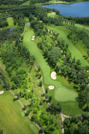 of course: A summer aerial view of a golf course in Minnesota