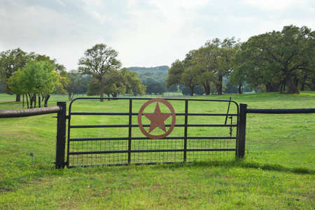 grass country: Ranch gate with a star in a Texas Hill Country pasture with trees