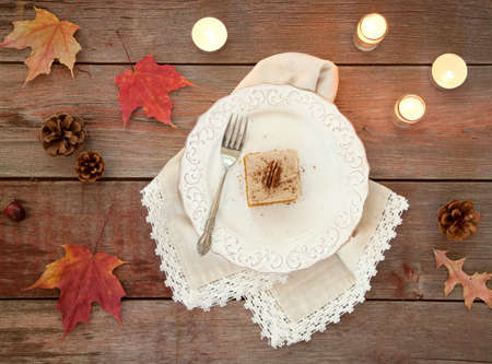 autumn food: Holiday Pumpkin Cake Bread Dessert on Rustic Wood viewed from above Stock Photo