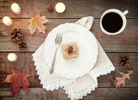 dessert fork: Holiday Pumpkin Cake Bread Dessert on Rustic Wood