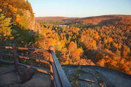 minnesota woods: Trees in fall color, hills and lake viewed from a scenic overlook on Oberg Mountain in northern Minnesota