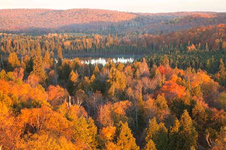 arbol de pino: Pequeño lago por debajo de las colinas y los árboles con el color del otoño en el norte de Minnesota Foto de archivo