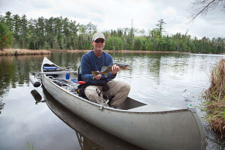 walleye: Fisherman in a canoe on a lake holds up a walleye he caught