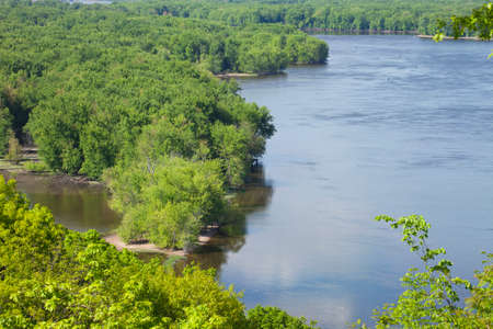 sandbar: High angle view of the Mississippi River in Iowa during Spring