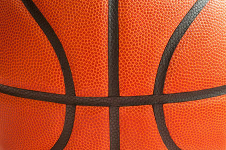 seams: Close up shot of a basketball showing the black seams Stock Photo