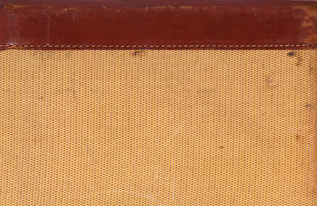 Detail of leather and a woven texture from an old suitcase for a background