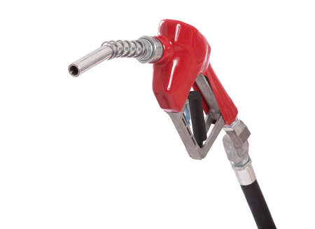 A gasoline pump nozzle with a red vinyl covered handle isolated on white