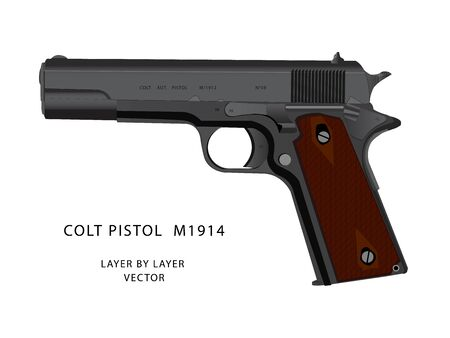 WW2 colt pistol vector parts by parts with layers name. best for animation such as firing, reloading etc.