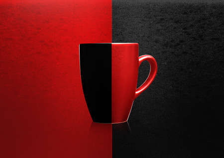 Two colors mug on red and black background,  Stock Photo - 10892009