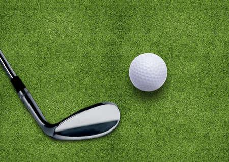 golf cart: Golf ball and putter on green grass  Stock Photo