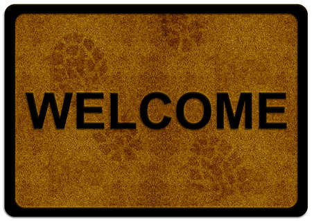 welcome door: welcome cleaning foot carpet with shoe print on it.