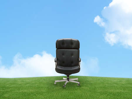 Outdoor armchair on green land, good concept for free position, career, out of box and peace of mind. Stock Photo - 10992215