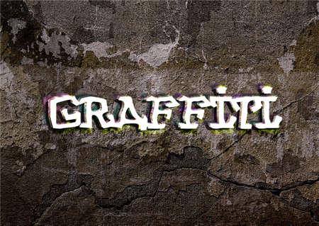 graffiti word wrote on brick wall photo