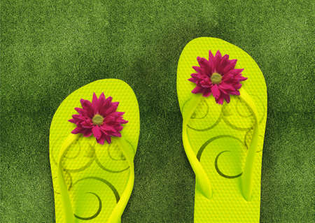 Colorful Flip Flops on green grass, summertime photo