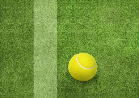 tennis ball beside the court line. photo