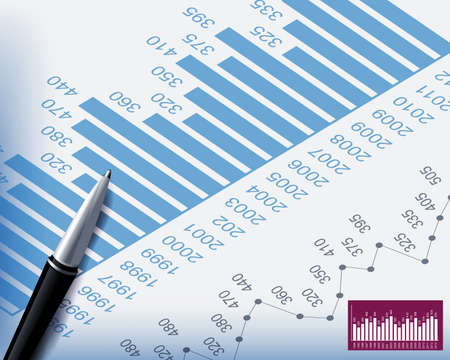 Business backgrounds graphs and stationary pen Vector