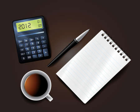 year financial statements: Business background including pen mobile notepad calculator and cup of coffee Illustration