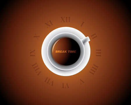 Cup of Coffee like a clock, Break time Vector