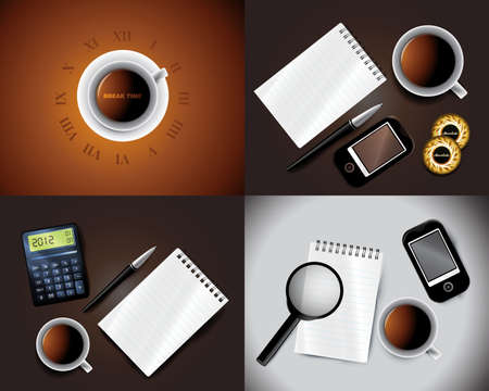 time table: Set of Business backgrounds including pen mobile notepad and cup of tea Illustration