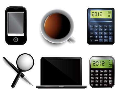 folio: Set of Business icons including pen mobile laptop magnifier calculator and cup of tea. Illustration
