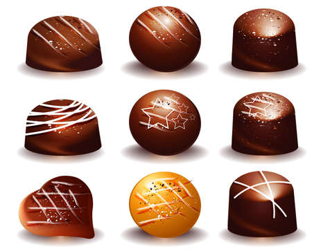 assorted of Delicious dark and milk chocolate truffles Vector
