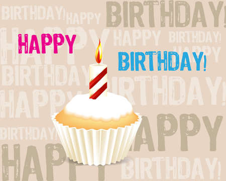 Birthday cupcake Greeting card Vector