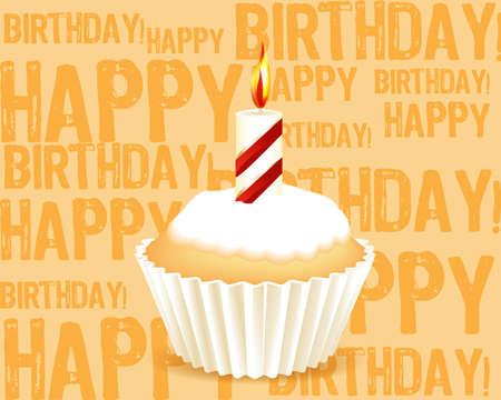 happy people eating: Birthday cupcake Greeting card Illustration