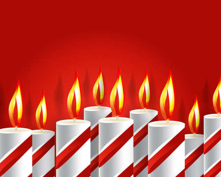candle flame: burning candle and shadow on red background  Illustration