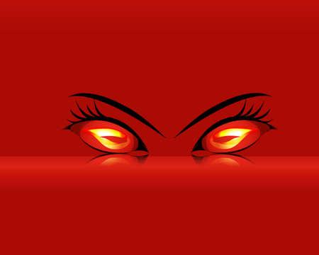 b�se augen: Cartoon entz�ndliche Evil Eyes Illustration