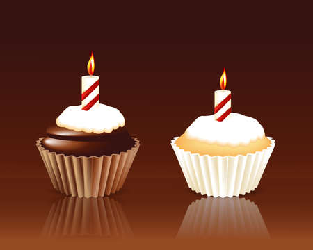 Birthday cupcake Greeting card Vector