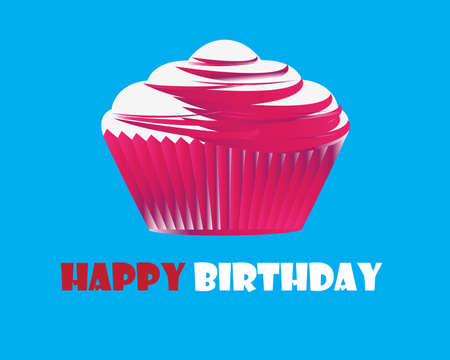 Birthday cupcake Greeting card Stock Vector - 11465912