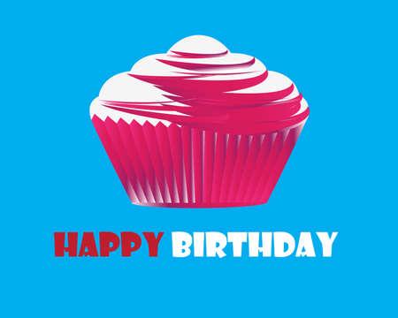 Birthday cupcake Greeting card Stock Vector - 11465912