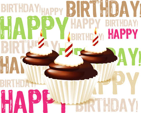 birthday cupcake: Birthday cupcake Greeting card Illustration