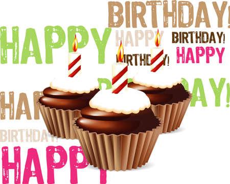 birthday cupcakes: Birthday cupcake Greeting card Illustration