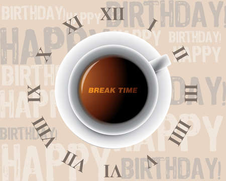 break time: morning cup of coffee as a clock